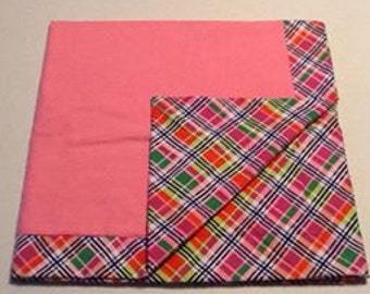 Baby Receiving Blanket, pink with plaid back