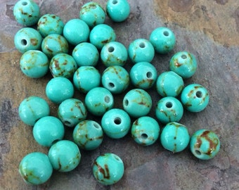 Full Strand of Turquoise Round Bead 6mm