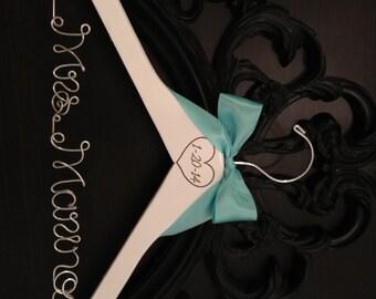 Wedding Hanger / Engraved Hanger / Rustic Brides Hanger / Bridal Hanger / Vintage Rustic Wedding / Burned Date Hanger