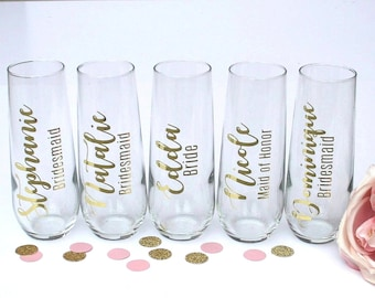 Personalized Stemless Champagne Glass - Champagne Flutes for Bridesmaids, Champagne glasses, Bridesmaid Gift Box idea, Wedding Champagne