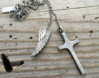Sterling Silver Cross Angel Wing Necklace Handmade Jewelry Wild Prairie Silver Joy Kruse