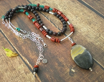 Gypsy sunset beaded necklace set, bumblebee jasper, red jasper, turquoise, mustang jasper, unique jewelry by Grey Girl Designs on Etsy