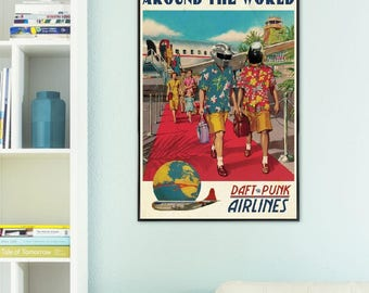 "JUNIQE ® Daft Punk music-design ""around the world""-murals, framed posters-Retro & vintage art-designed by ads Libitum"
