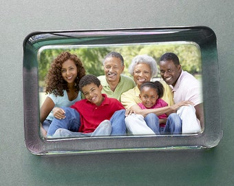 Custom Photo Paperweight for Mom or Dad - Your Photo Displayed in a Rectangle Handcrafted Glass Paperweight, Personalized Gift for Family