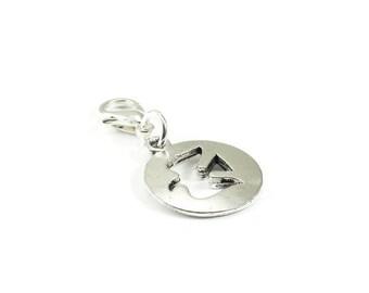 SALE Dove Zipper Pull Purse Charm Silver Clip On Charms