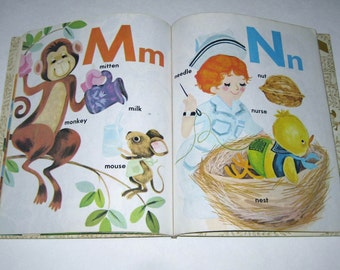 The Happy Golden ABC Vintage 1970s or 1980s Children's Book Illustrated by Joan Allen