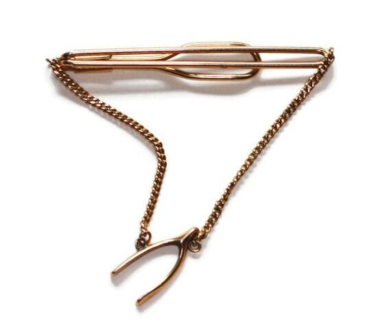 Swank Wishbone Tie Clasp Tie Bar Gold Tone Vintage