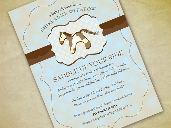 Horse baby shower invitation print your own filmwisefo Gallery