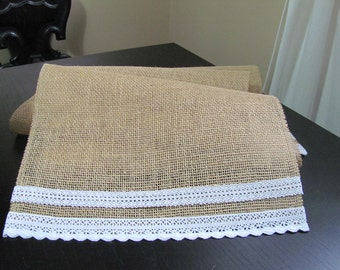 Burlap and Lace Table Runner, Rustic Table Runner, Burlap Table Runner, Barn Wedding Table Runner, Burlap Runner
