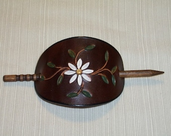 Handmade Leather Stick Barrette Stamped with Daisy