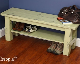 Painted and Distressed Solid Wood Storage Bench, Farmhouse Bench, Shoe Storage Bench, Beach House Bench