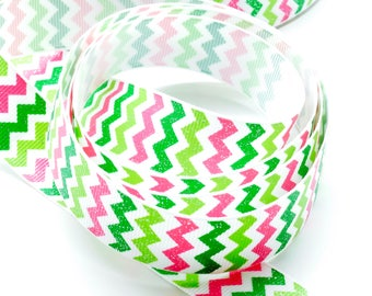 1m Polyester ribbon yellow, pink and green chevrons and silver glitter, width 22 mm