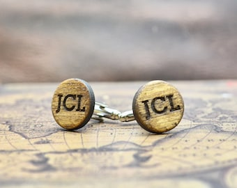 Father's Day Gifts for Guys Personalized Wood Cufflinks Wooden Cuff Links Customized Personalised Monogrammed with Initials Custom Cufflinks