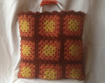 Vintage Tote Bag 1970s Granny Square Afghan Retro Bag