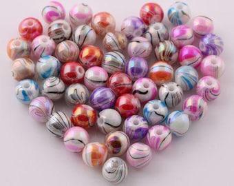 10 pearls multicolored acrylic