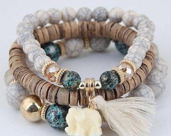 New Beaded Wooden, Gold Filled Bracelet Stack Set