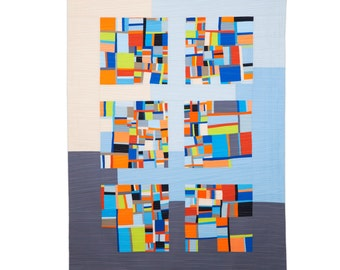 """Art Quilt, Quilt Art, Wallhanging. Motif #14. 53""""H x 39""""W. Pieced and quilted in 100% cotton, hanging sleeve."""
