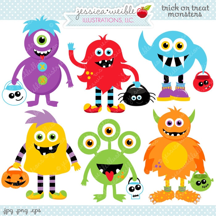 Trick or Treat Monsters Cute Digital Clipart Commercial Use