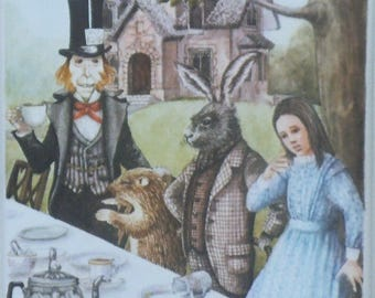 ALICE in WONDERLAND Vintage Children's Print 1975 - Mad Hatters Tea Party - The March Hare had just upset the Milk Jug-Matted-Ready to Frame