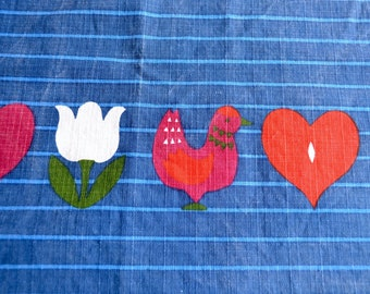 Vintage Scandinavian Tablecloth - Christmas Birds Tulips Hearts - Use or Repurpose