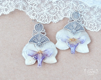 Chic Orchid Earrings, real Flower, Dangle Exotic Earrings, Flower Jewelry, silver filigree - purple orchid  - flower in resin-  jewelry