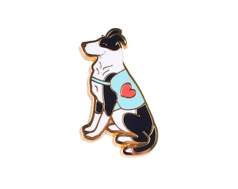 Love Brigade dog Enamel Pin - White Dog Head Pin
