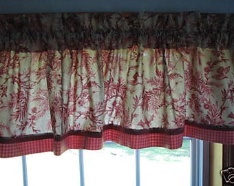 "Salmon Pink Bird Tan Toile  Valance 17"" x 81""  Can Alter Curtain Window Treatment"