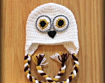 Crocheted Snow Owl hat- ALL SIZES