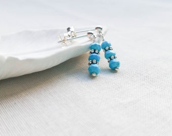 Turquoise Sterling Silver and Bali Silver Post Earrings - Simple Small Genuine Gemstone Dangle Posts Handmade Aqua Light Blue Sterling