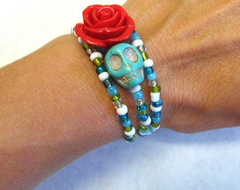 Day of The Dead Bracelet Sugar Skull Jewelry Turquoise Blue Red Rose