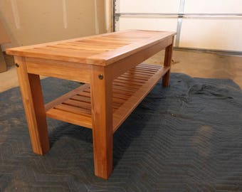 Slatted Maple Bench outdoor entry way