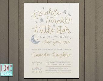 Twinkle Twinkle Little Star Baby Shower, Gold, Silver, Stars Moon -  PRINTABLE DIGITAL FILE 5x7