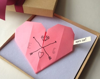 Romantic, origami heart proposal