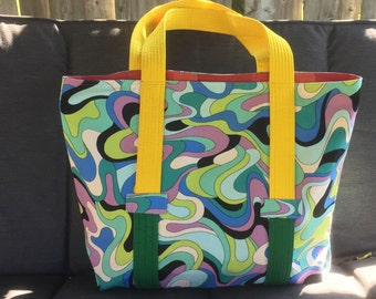 blue tote bag, over-sized tote bag, all day tote bag, carry all bag, colourful waves tote bag