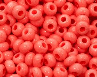 6/0 Coral Opaque Preciosa Sol Gel Seed Bead - 4110 - Washable Coral Opaque 6/0 Seed Bead - 15 Grams