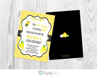 Bee birthday invite etsy bumble bee invitation printable front and back bumblebee birthday party invite beeday invite filmwisefo Images