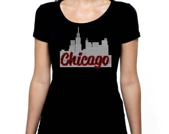 Chicago Skyline RHINESTONE Sears Willis Tower t-shirt tank top  - S M L XL 2XL - Bling Windy City Illinois Sky Line Scrapers