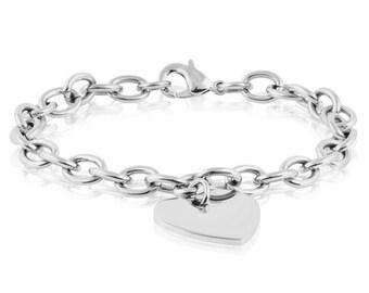 Stainless steel heart charm link bracelet for women (engraving available)