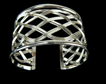Modernist Open Weave Wide Cuff Bracelet Silver Tone
