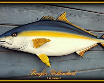 Yellowtail fish art wood carving, 40'' sulpture, wood fish art, fishing art, trophy fish mount, sport fish carving, game fish art,