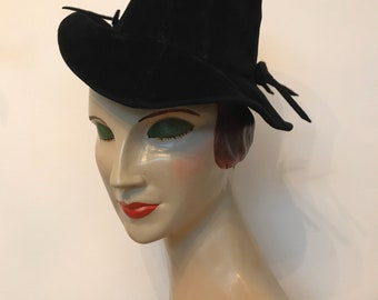 1930s vintage black felt tilt toy hat homemade - two bows and elastic