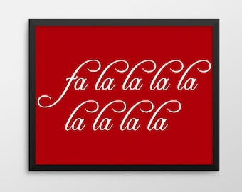 Christmas Printable Art, Fa la la la la la la la la Wall Art, Christmas Decor, Christmas Print, Merry Christmas Holiday Decor Sign