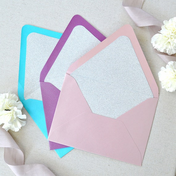 Silver Glitter Liners for Euro Flap Envelopes - Glitter Envelope Liners for Invitations