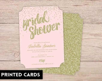 Bridal Shower Invitations, Bridal Shower Invitation, Personalized, Shower Invites, gold confetti