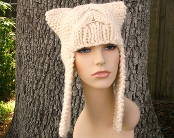 Cream Womens Hat - Dragon Slayer Cream Ear Flap Hat Cream Knit Hat - Cream Hat Cream Beanie Womens Accessories Winter Hat