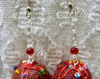 Beaded felted ball earrings,Red felted beaded ball earrings, Felted ball and silver earrings