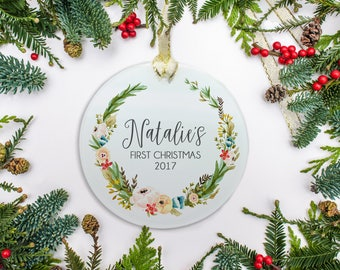 Baby's First Christmas Ornament - Frosted Glass Ornament - Olive Wreath Design - Baby Gift