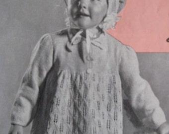 Vintage Baby and Toddler Knitting Patterns PDF Girls' Dress Coat and Bonnet 50B-3, 50B-4