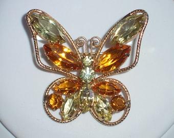 Juliana Rhinestone Butterfly Brooch – 1960's