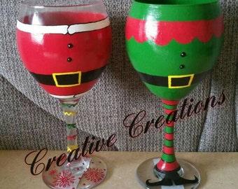 Santa and Elf wine glasses